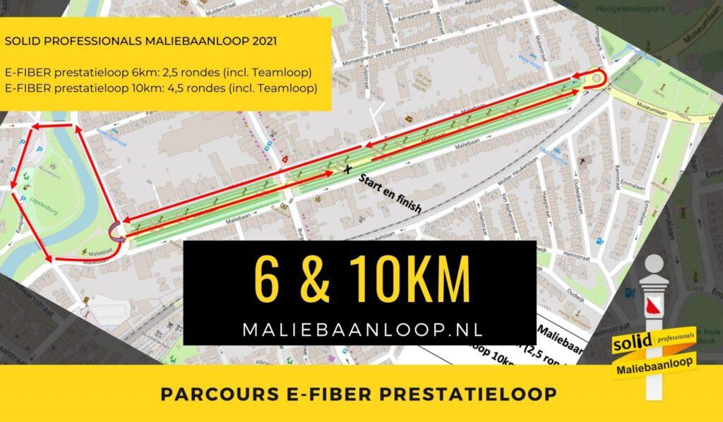 parcours 6 en 10 km maliebaanloop
